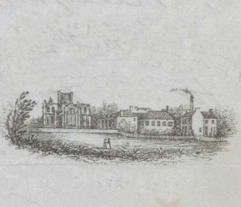 An engraving showing the Abbey Brewery on the right.