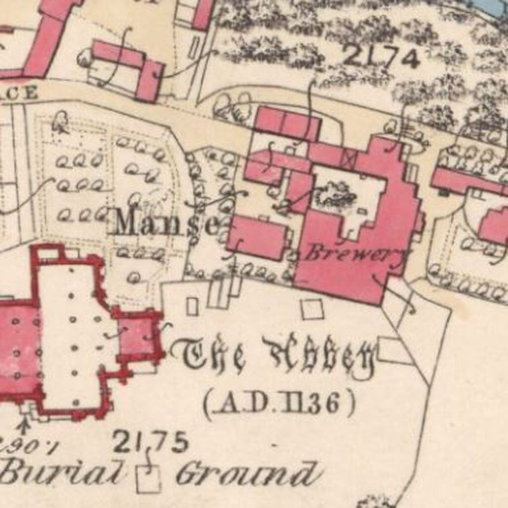 Map of 1859 showing the layout of the Abbey Brewery. © National Library of Scotland, 2016