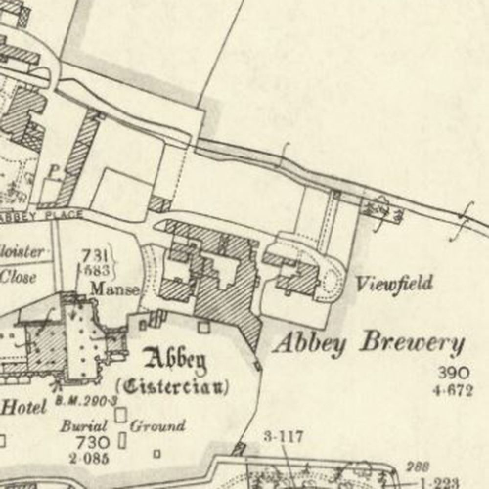 Map of 1897 showing the layout of the Abbey Brewery. © NLS, 2016