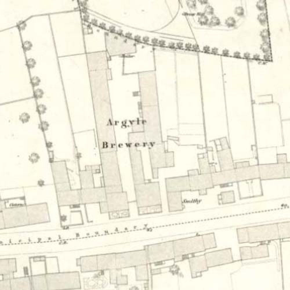 Map of 1854 showing the Argyle Brewery. &copy: National Library of Scotland, 2015