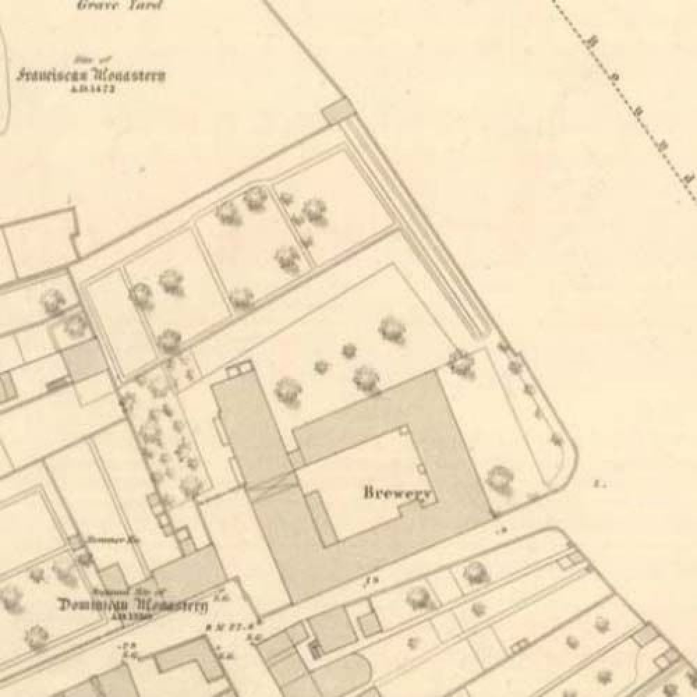 A map of 1855 showing the layout of the Ayr Brewery. © National Library of Scotland, 2015
