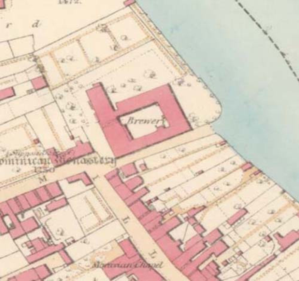 A map of 1857 showing the layout of the Ayr Brewery. © National Library of Scotland, 2015