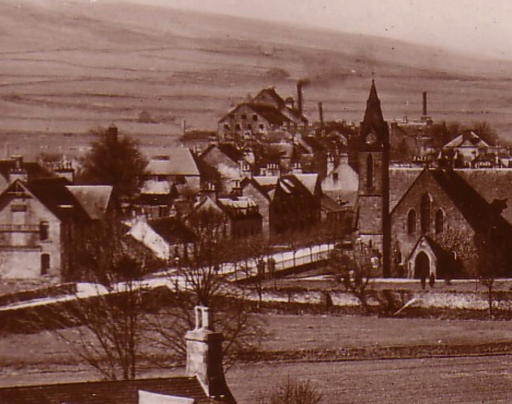 View of Blackford village from the east with the Blackford Brewery in the centre