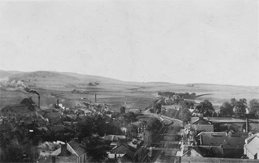 View of Blackford village from the east with the Blackford Brewery to the left