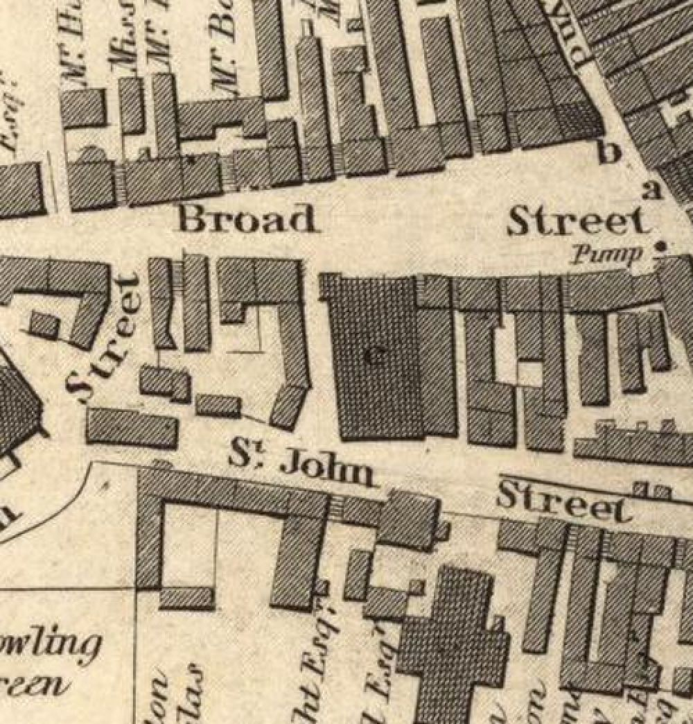 Map of 1820 showing the layout of the Broad Street Brewery. © National Library of Scotland, 2016.