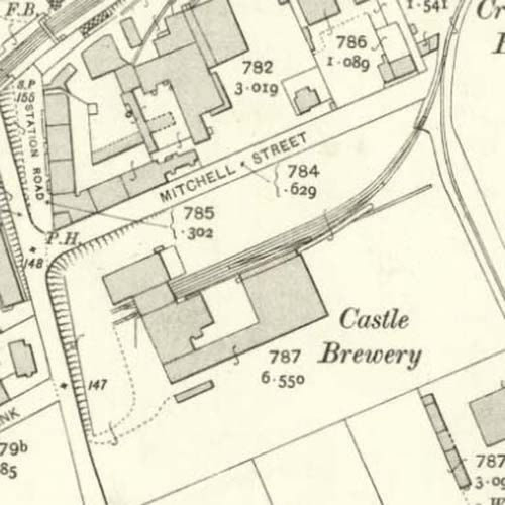 Map of 1906 showing the layout of the Castle Brewery. © National Library of Scotland, 2015