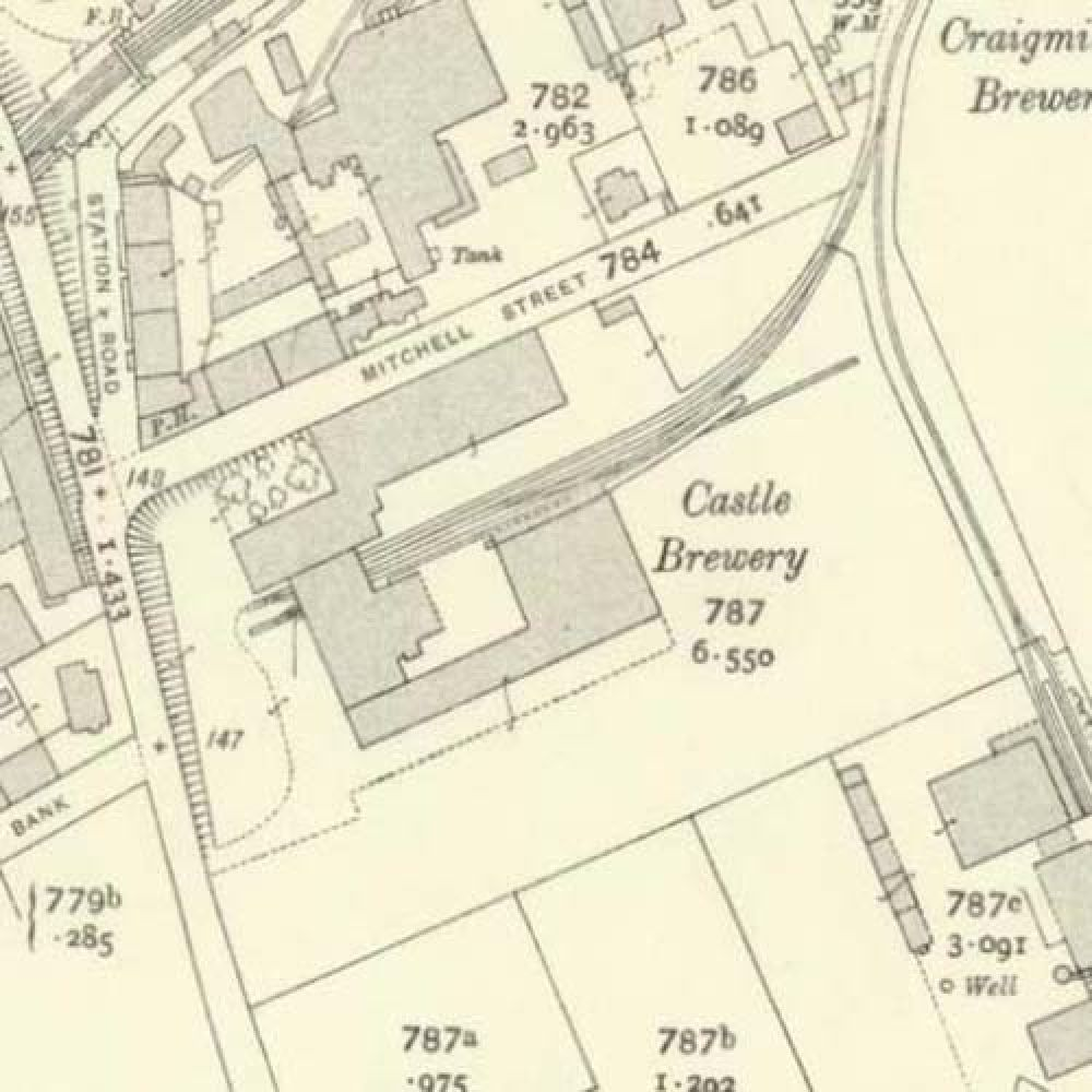 Map of 1913 showing the layout of the Castle Brewery. © National Library of Scotland, 2015