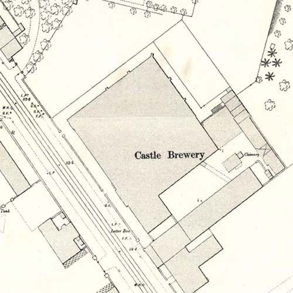 Map of 1892 showing the layout of the Castle Brewery. © National Library of Scotland, 2015