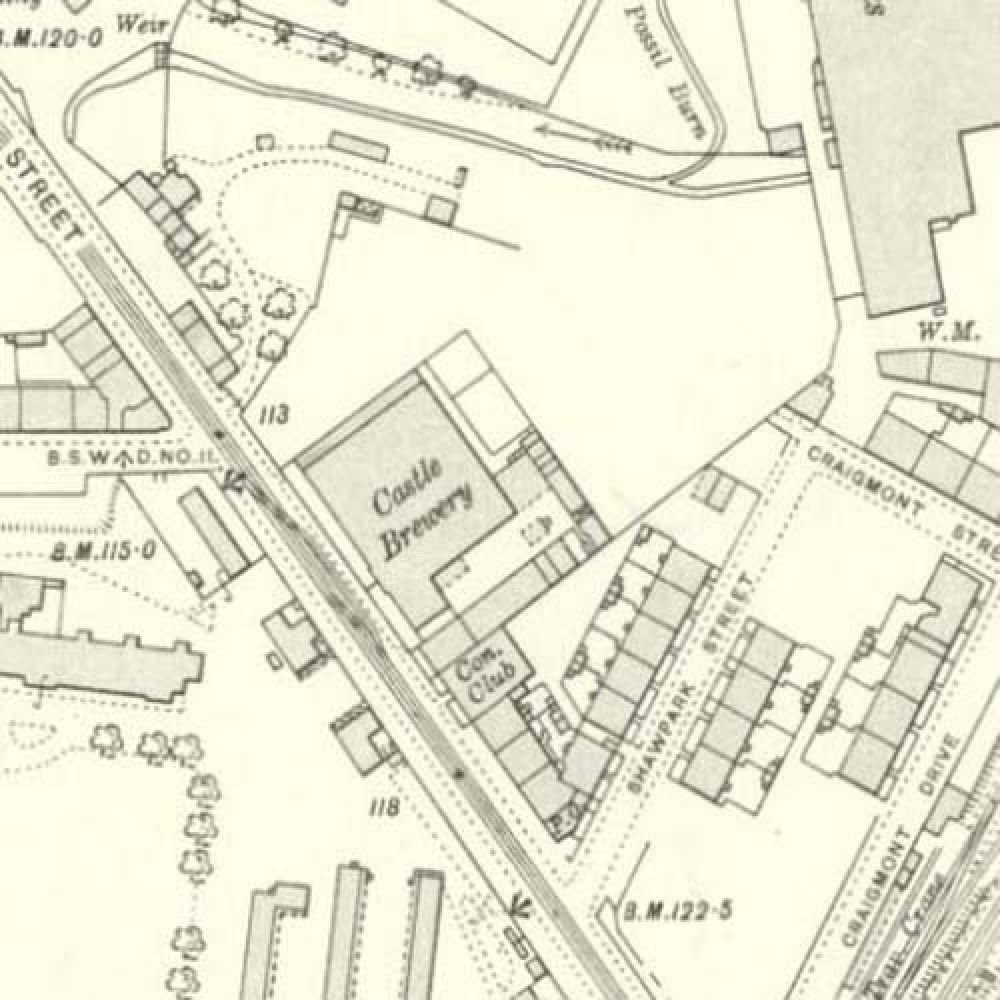 Map of 1909 showing the layout of the Castle Brewery. © National Library of Scotland, 2015