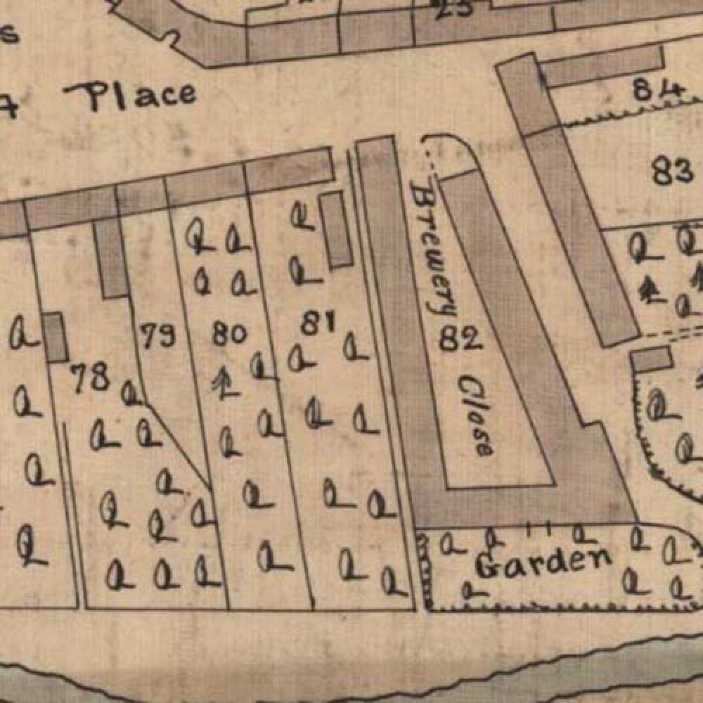 Map of 1819 showing the layout of the Coldstream Brewery. © National Library of Scotland, 2015