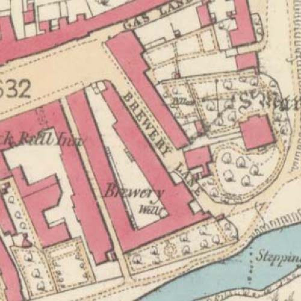 Map of 1858 showing the layout of the Coldstream Brewery. © National Library of Scotland, 2015