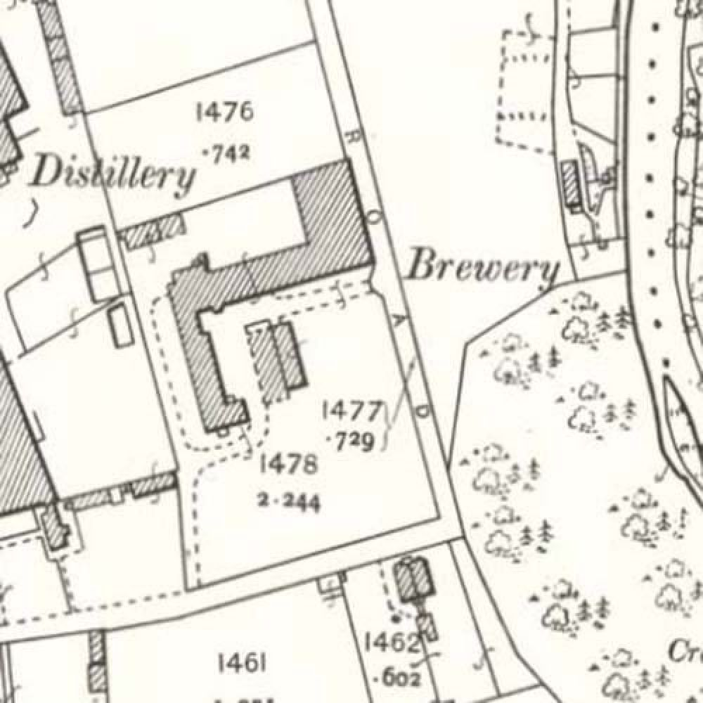 Map of 1902 showing the layout of the Craigellachie Brewery