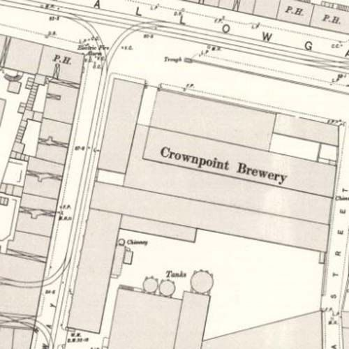 Map of 1892 showing the layout of the Crownpoint Brewery
