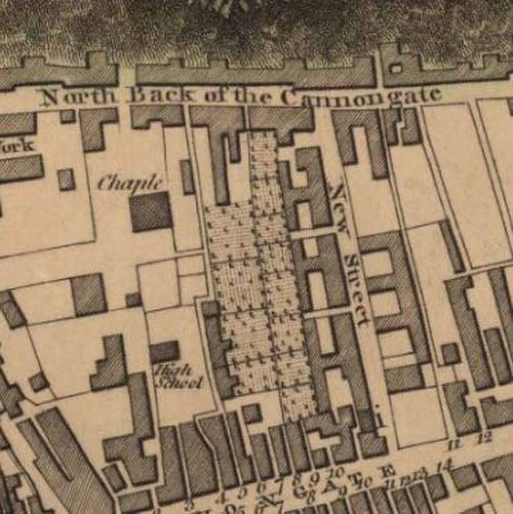Map of 1804 showing the location of the old Edinburgh Brewery opposite the north end of New Street. © National Library of Scotland, 2017