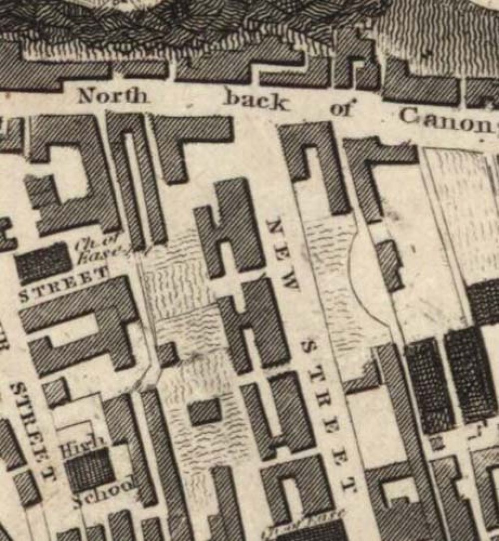 Map of 1823 showing the location of the old Edinburgh Brewery opposite the north end of New Street. © National Library of Scotland, 2017