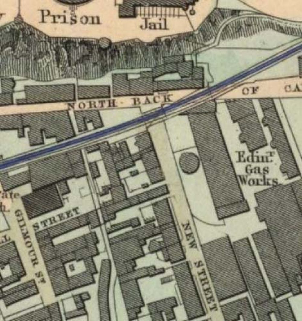 Map of 1851 showing the location of the old Edinburgh Brewery opposite the north end of New Street. © National Library of Scotland, 2017