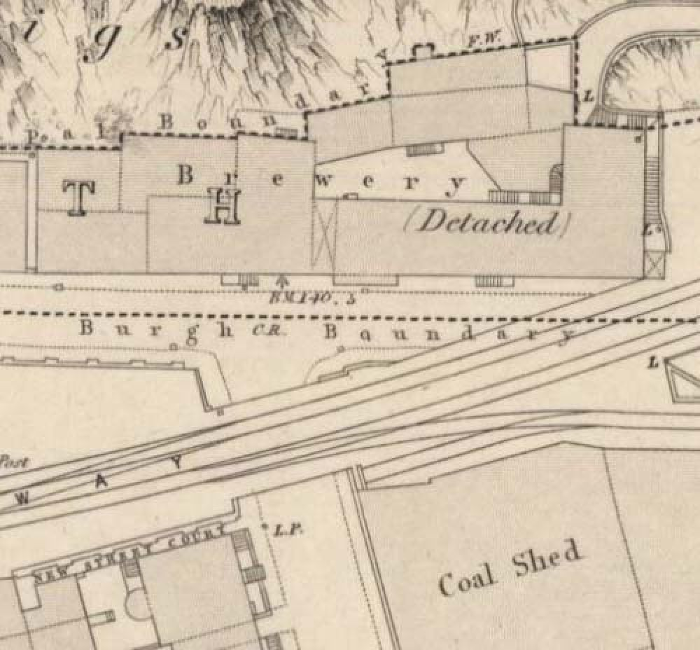Map of 1852 showing the location of the old Edinburgh Brewery opposite the north end of New Street. © National Library of Scotland, 2017