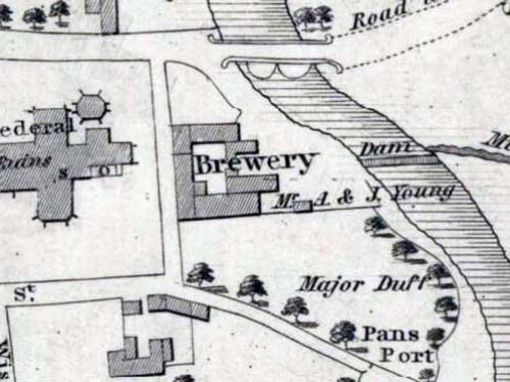 Map of 1822 showing the location of the Elgin Brewery. © National Library of Scotland, 2016