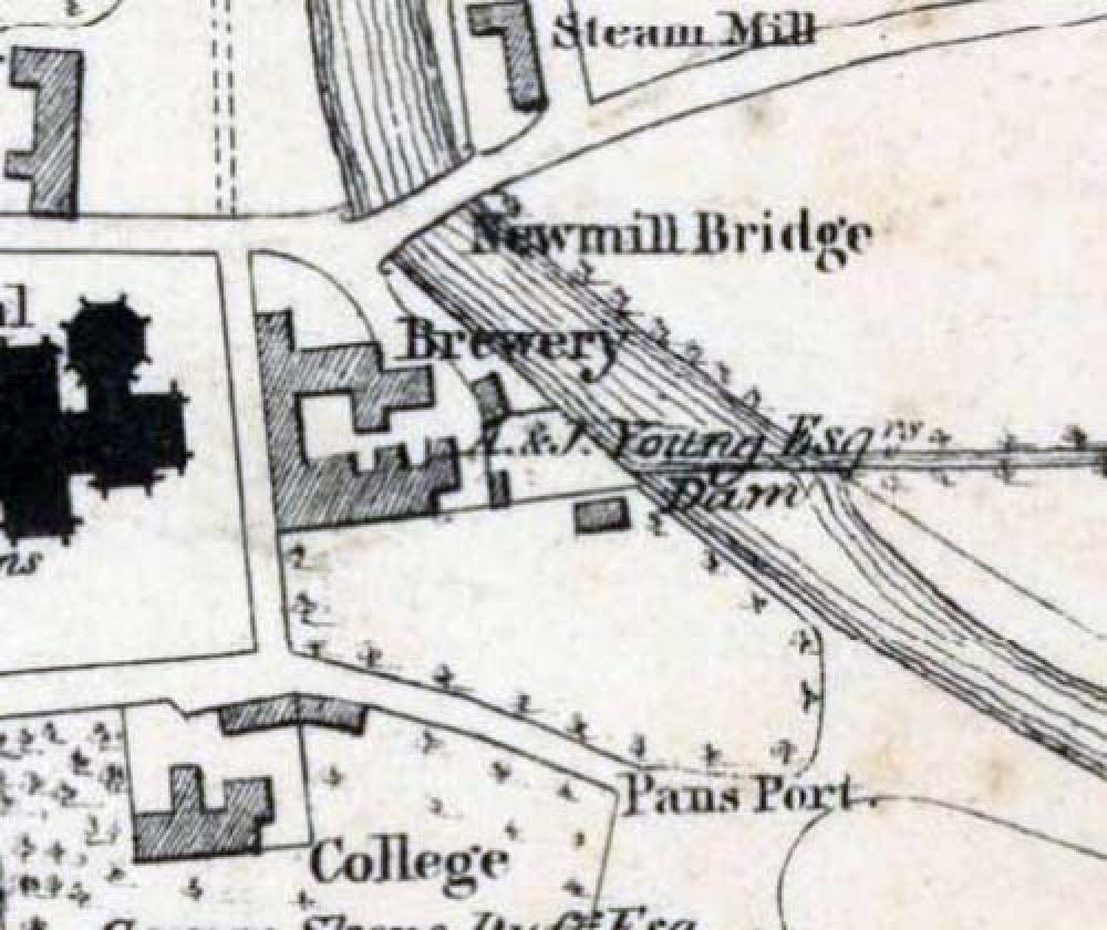 Map of 1838 showing the location of the Elgin Brewery. © National Library of Scotland, 2016