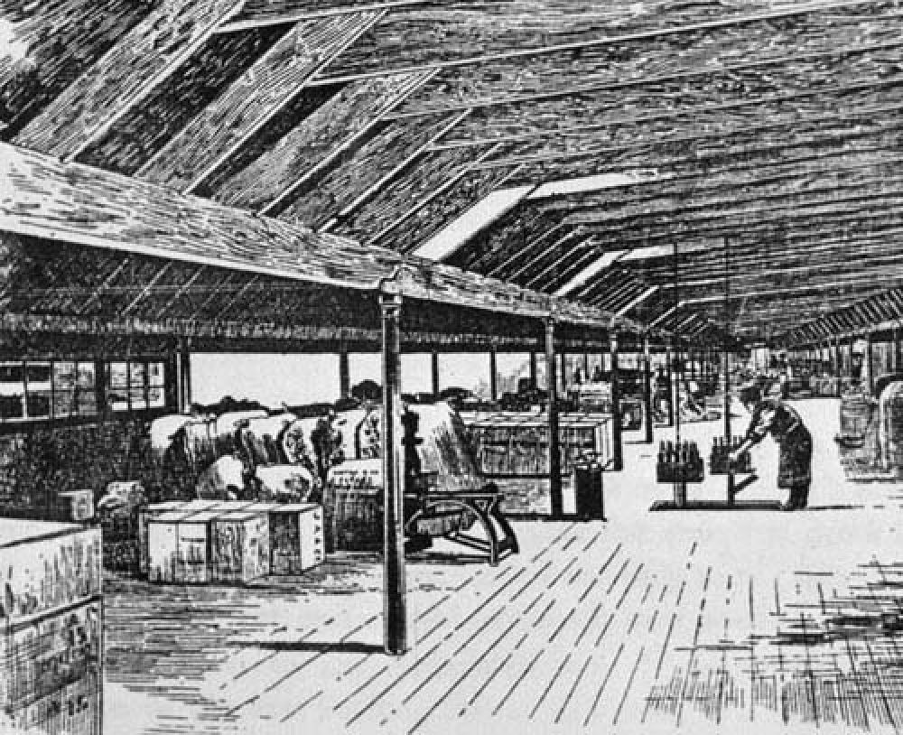 The export department, where bottles were packed for dispatch, in the 1880s.