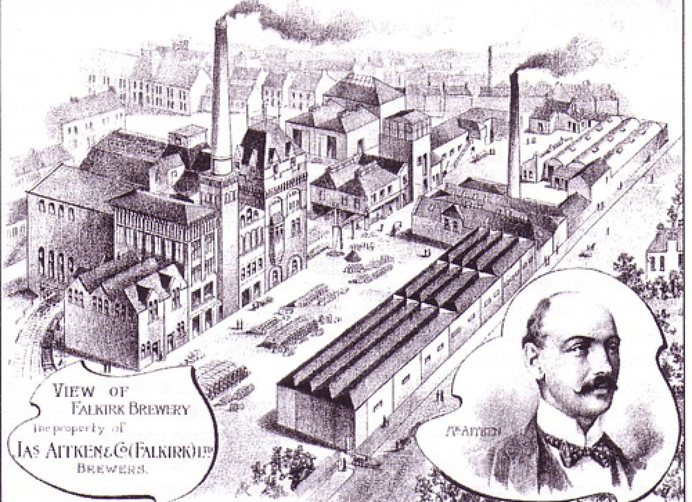 An aerial view of the brewery from the north-west in the 1900s.