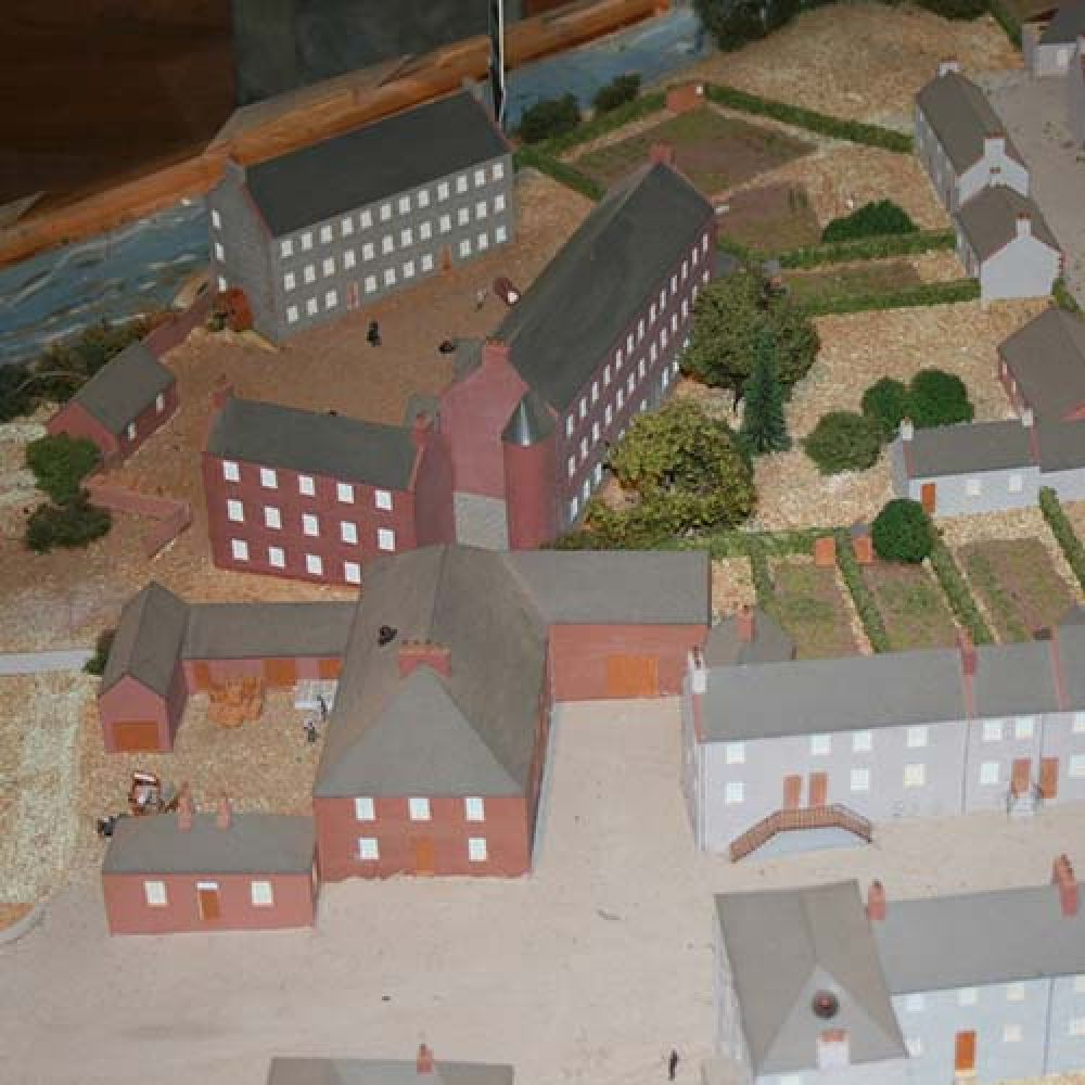 A model of Gatehouse on Fleet in 1800, showing the brewery complex in the bottom left-hand quadrant. © Gatehouse Folk, 2015