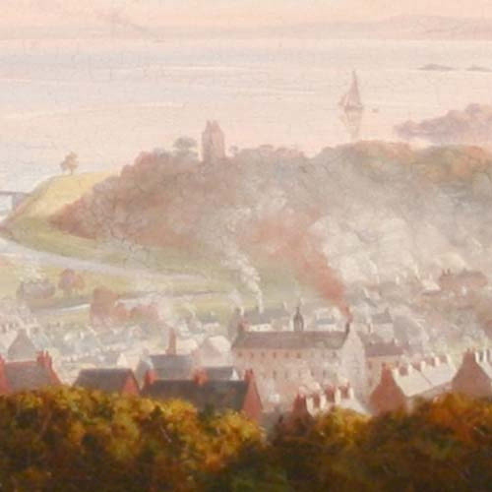 A painting of Gatehouse in 1851, showing the brewery chimney to the left of the large cotton mill. © Gatehouse Folk, 2015