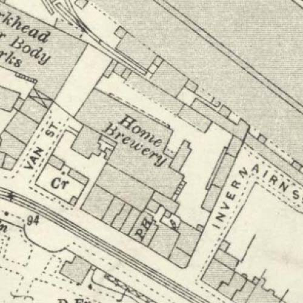 Map of 1933 showing the layout of the Home Brewery. © National Library of Scotland, 2015