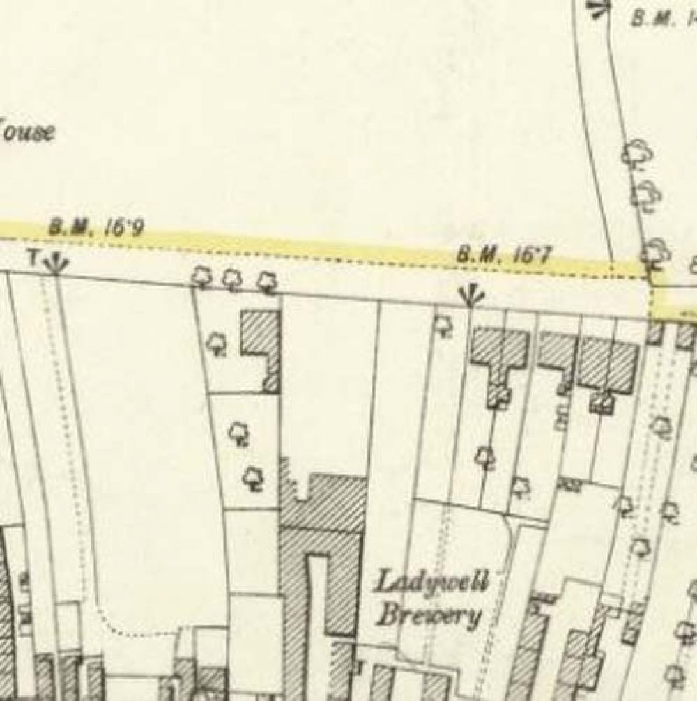 Map of 1893 showing the layout of the rear of the Ladywell Brewery. © National Library of Scotland, 2017