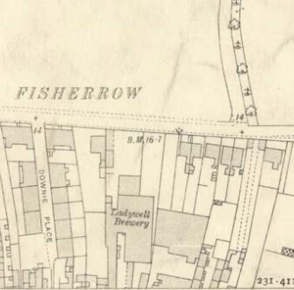Map of 1912 showing the layout of the rear of the Ladywell Brewery. © National Library of Scotland, 2017