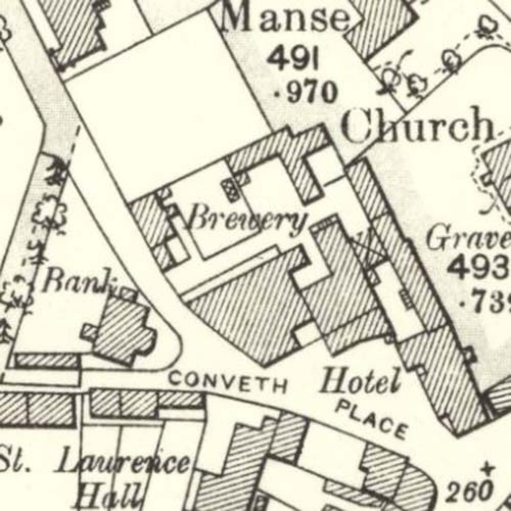 Map of 1901 showing the layout of the Laurencekirk Brewery. © National Library of Scotland, 2015