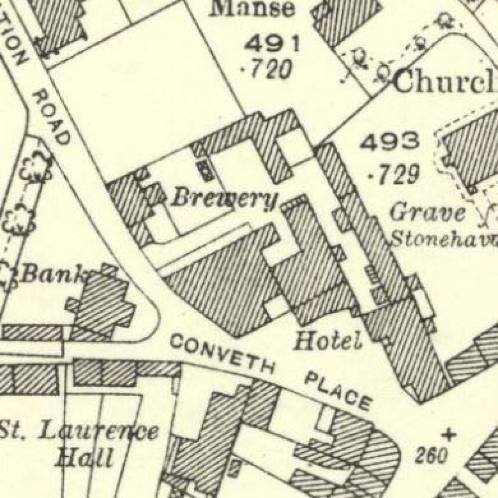 Map of 1923 showing the layout of the Laurencekirk Brewery. © National Library of Scotland, 2015