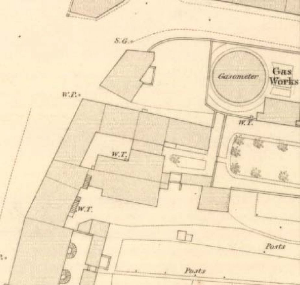 Map of 1855 showing the location of of the Newton Brewery. © National Library of Scotland, 2015