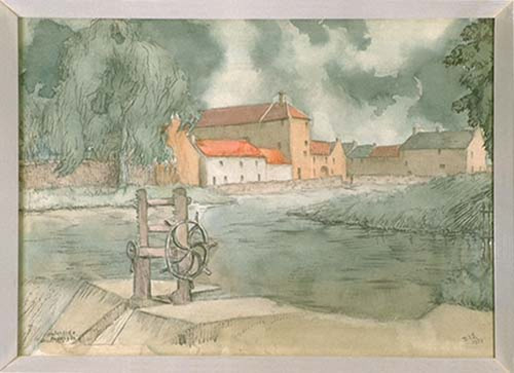 A watercolour by Dorothea Nimmo Smith which includes the Nungate Brewery (the white building just left of centre). © East Lothian Council Museum Services, 2016.