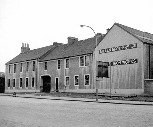 A picture of part of the Sacell Brewery in the 1960s, when it was used as offices by Millen Brothers, a shipbuilding firm. © John Hume, 1960.