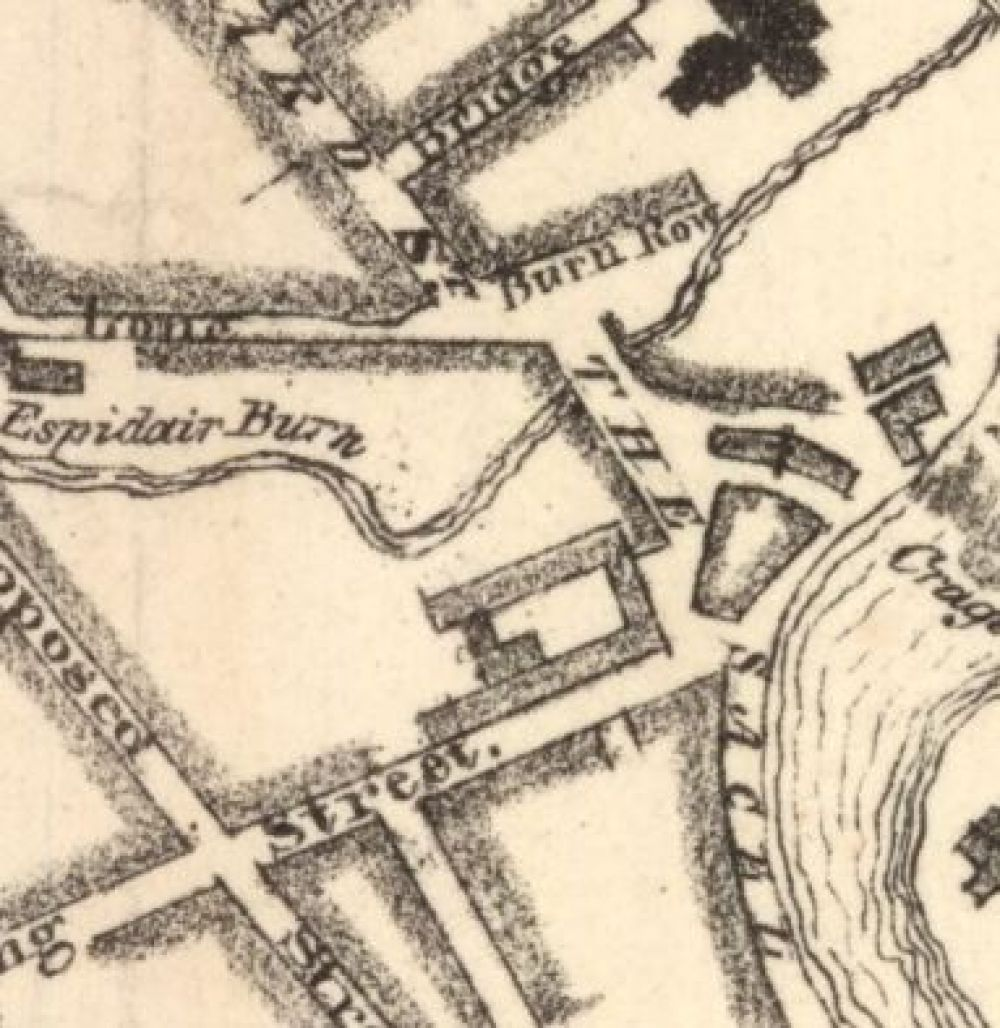 A map of 1828, showing the location of the Sacell Brewery. © National Library of Scotland, 2016.
