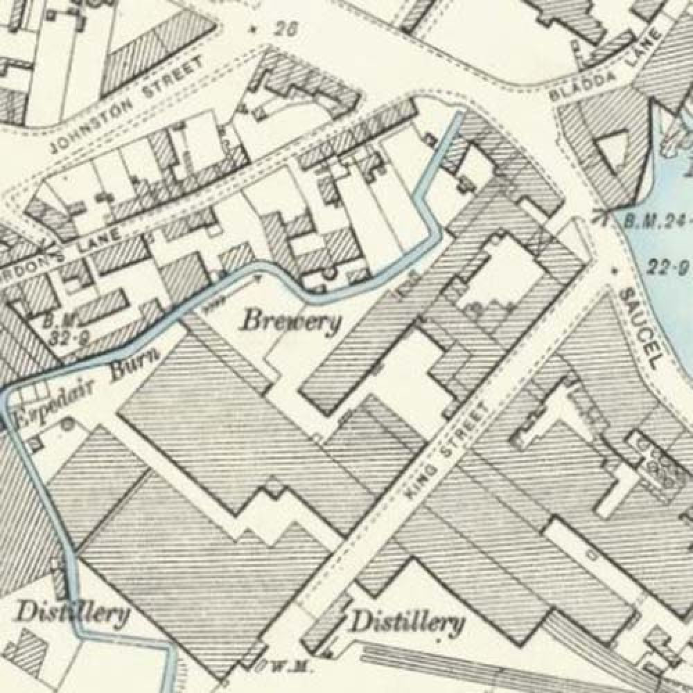 A map of 1896, showing the location of the Sacell Brewery. © National Library of Scotland, 2016.