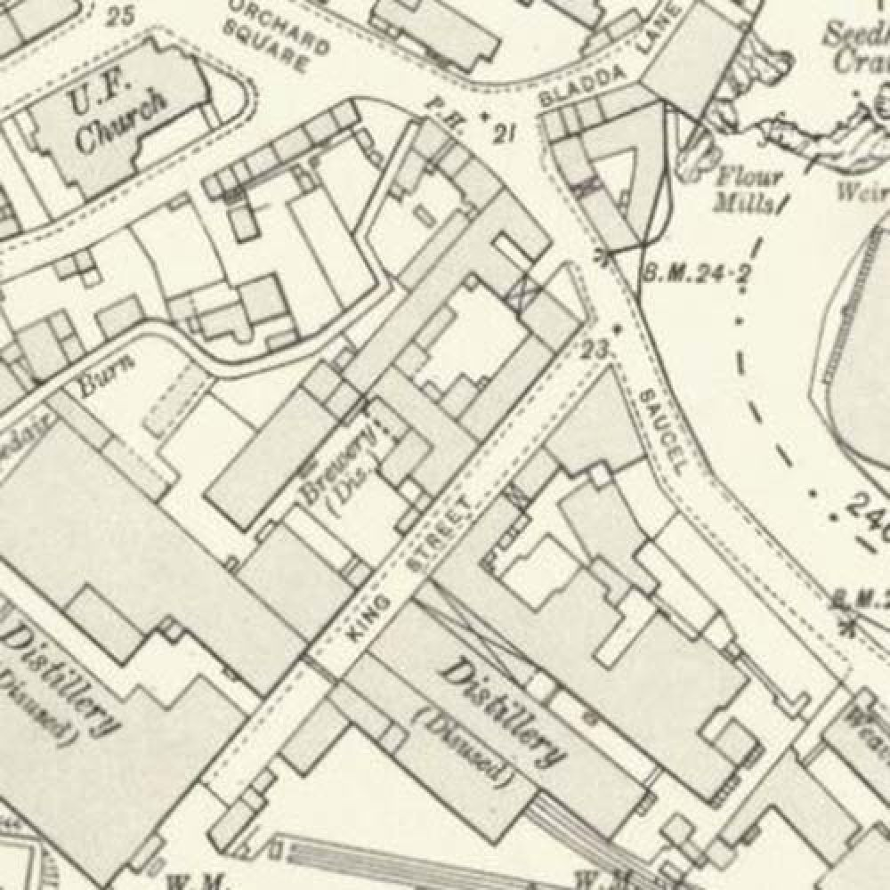 A map of 1912, showing the location of the Sacell Brewery. © National Library of Scotland, 2016.