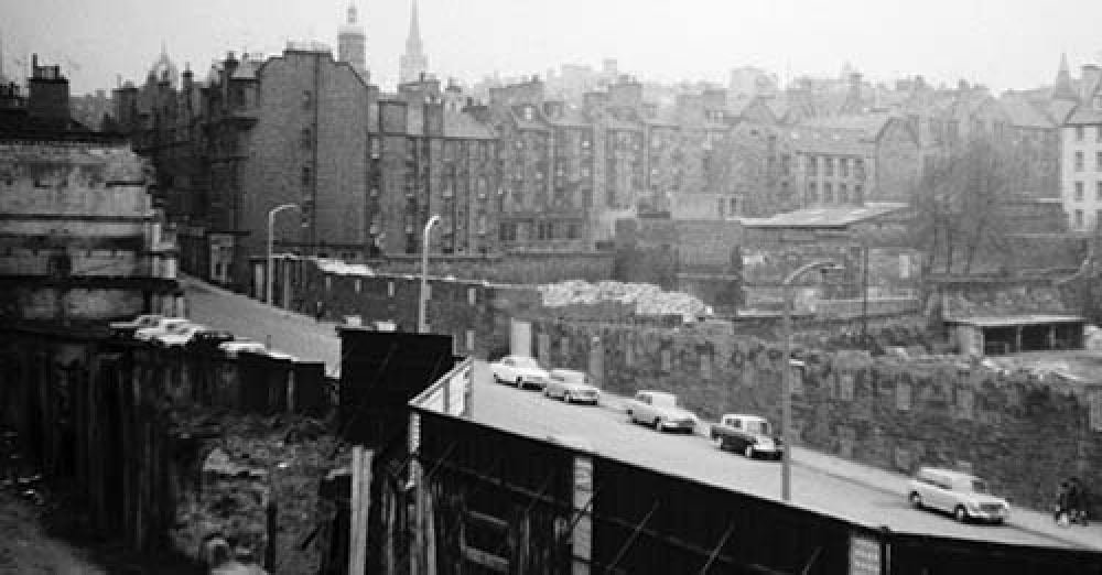 This view shows the site of the St Mary's Brewery and to its right the site of the Canongate Brewery, which were cleared in the 1960s
