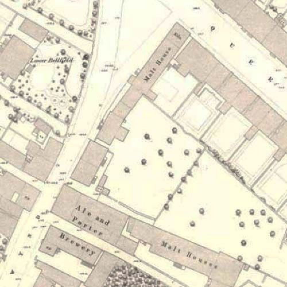 Map of 1860 showing the layout of the Stirling Brewery. © National Library of Scotland, 2015