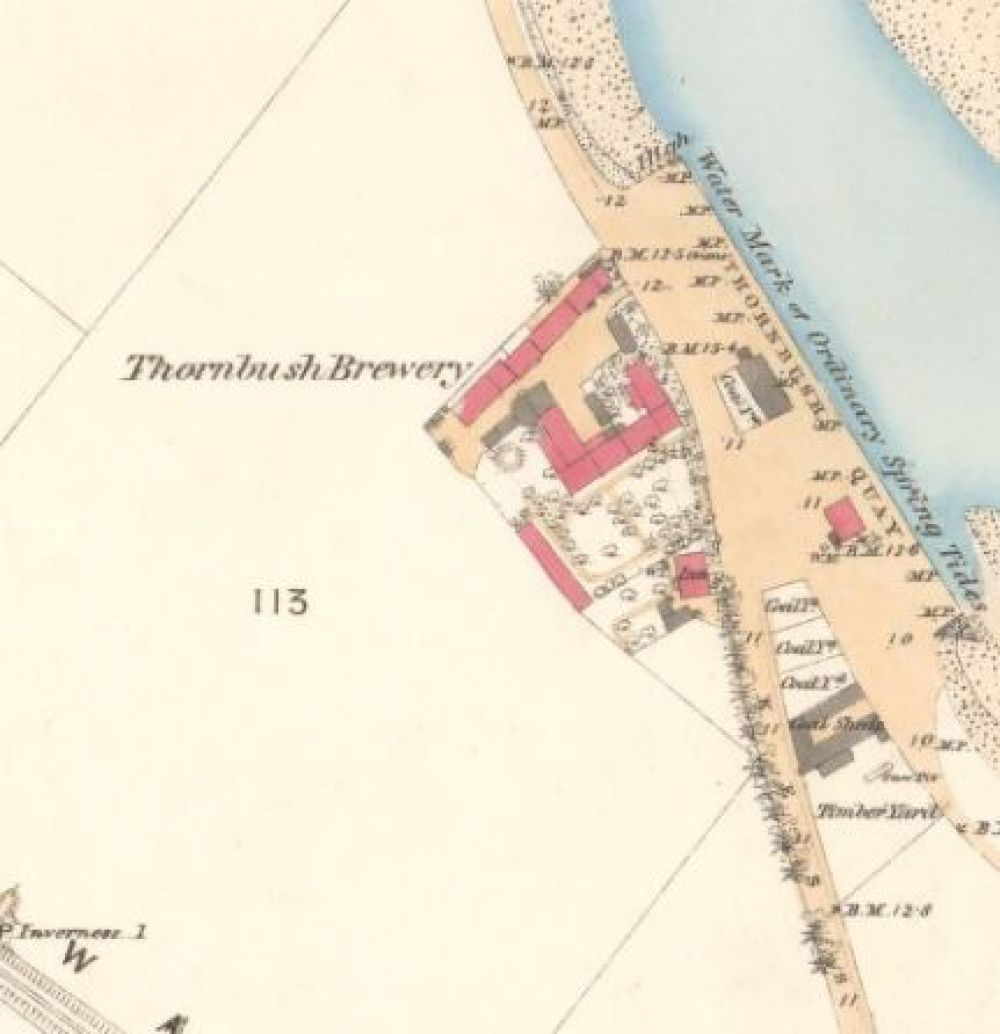 Map of 1870 showing the layout of the Thornbush Brewery. © National Library of Scotland, 2015