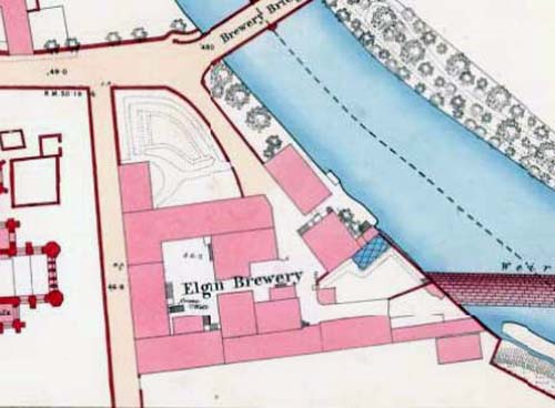 Map of 1868 showing the layout of the Elgin Brewery