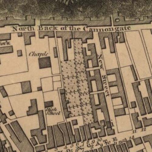 Map of 1804 showing the location of the Edinburgh Brewery opposite the north end of New Street
