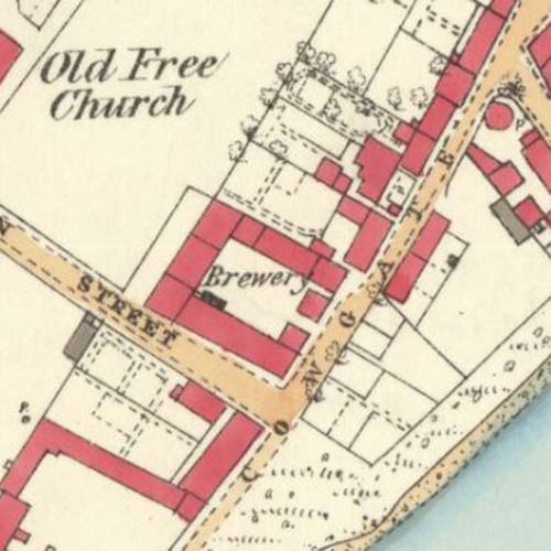 Map of 1872 showing the site of the Thurso Brewery