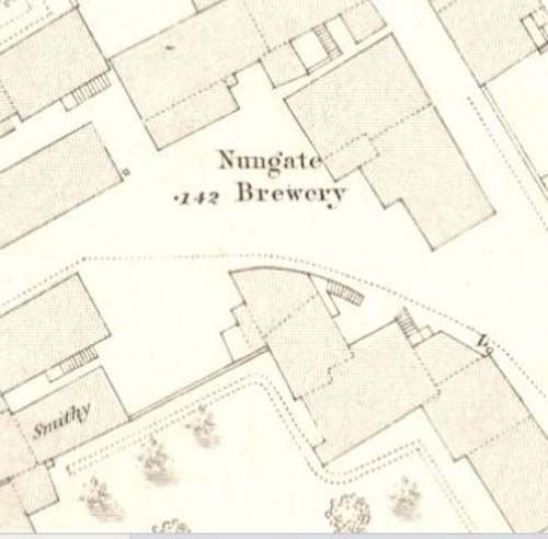 Map of 1853 showing the layout of the Nungate Brewery.