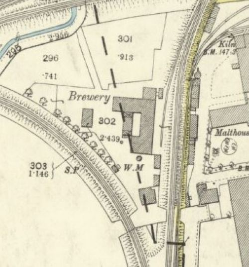 Map of 1893 showing the layout of Bernard's Brewery