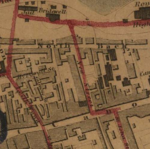 Map of 1834 showing the location of the Edinburgh Brewery opposite the north end of New Street