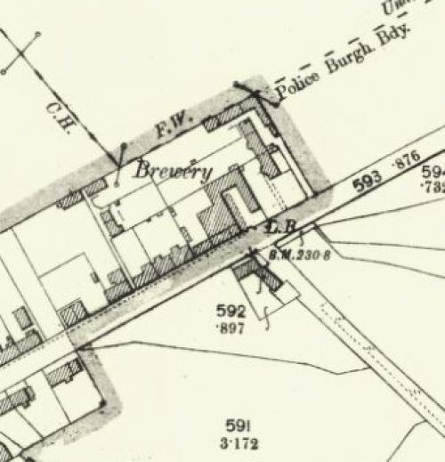 Map of 1899 showing the location of the Strathearn Brewery