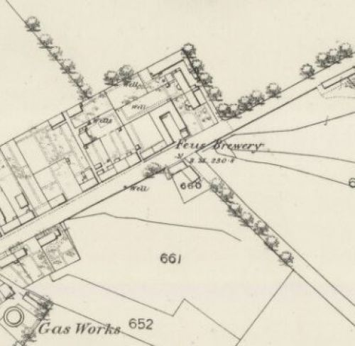 Map of 1860 showing the location of the Feus Brewery