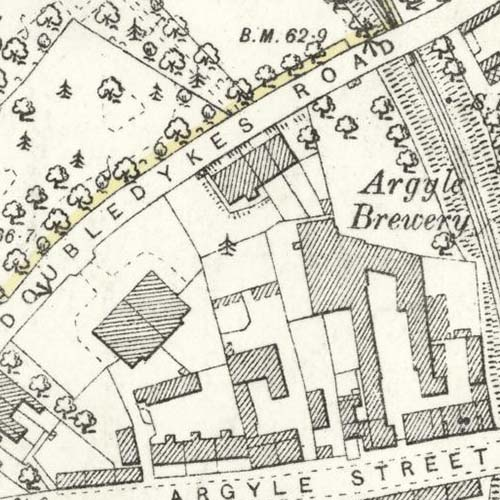 Map of 1893 showing the Argyle Brewery